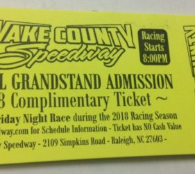 Wake County Speedway Race Ticket Resolute