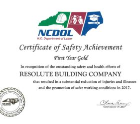 Resolute First Yeal Gold Achievement